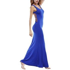 Tootess 女性の背部タンクセクシープラスサイズの固体スリムフィットロングドレス Blue M