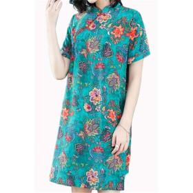 [イダク] レディース 半袖 チャイナドレス チャイナ服 舞台 衣装 民族 中国風 旗袍 グリーンL
