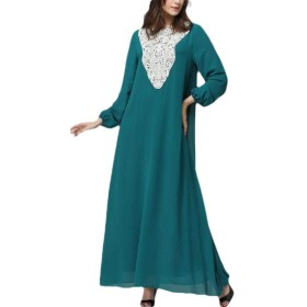 Keaac Women Muslim Kaftan Abaya Floral Printing Flowy Long Maxi Party Cocktail Dresses Blue M