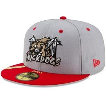 ニューエラ メンズ 帽子 アクセサリー Batavia MuckDogs New Era 100th Anniversary Patch 59FIFTY Fitted Hat Gray