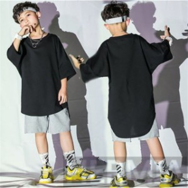 キッズダンス衣装 ヒップホップ セットアップ HIPHOP ダンス衣装 キッズ ダンストップス ショートパンツ 子供 男の子 女の子 ステージ衣