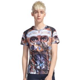 マイケル・ジャクソン tシャツ スペースcosplay Michael Jackson メンズ 半袖Tシャツ 夏服 (S)