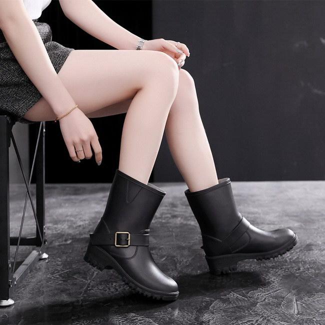 FOFU-雨靴韓版時尚雨鞋橡膠中筒雨靴耐磨套腳防滑雨鞋女鞋【09S2356】
