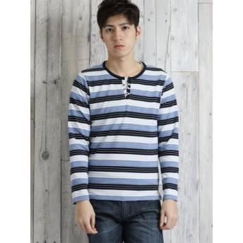 (TAKA-Q/タカキュー)変形梨地ボーダー柄フェイクキーネック長袖Tシャツ/メンズ ブルー