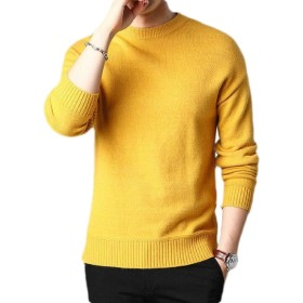 Keaac Men's Casual Slim Fit Pullover Sweaters Basic Knitted Lightweight Crew Neck Sweater Yellow XL