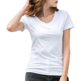 [ジンジンW] カジュアルTシャツ スポッツランニングウェア 吸湿 快適 フィットコットンTシャツ Vネック クールネック2タイプ [ホワイト]S