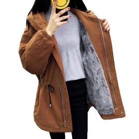 Gergeousレディース ロングコート 裏起毛 冬服 防寒アウター 厚手 フード付き トレンチコート 韓国ファッション カジュアル モッズコート(Rカーキ)
