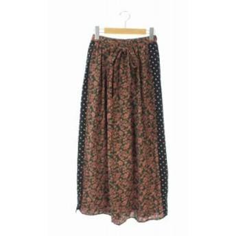 【中古】未使用品 ディスコート Discoat 18SS スカート フレア ドット柄 総柄 切替 F 茶 緑 黒 /KN ■OS レディース
