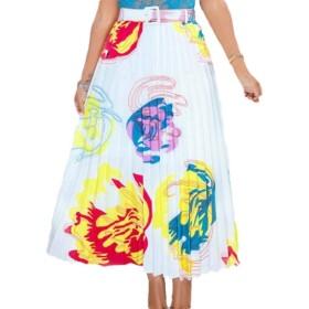 Qiangjinjiu 女性スカートグラフィティプリーツプリント弾性ウエストAラインスイングミディスカート 9 S