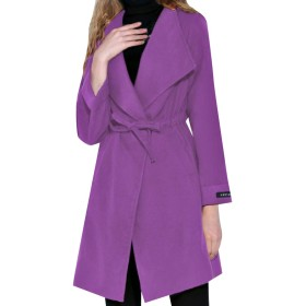 Romancly レディースウールと暖かい生カットヘムウォーカーコートポケット付き Purple S