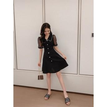 女性らしさ満点の魅力スタイルを! レトロ 中・長セクション ファッション 百掛け カジュアル ワンビース スリム 気質 パール スクエアカラー エレガント 小さい新鮮な ミニスカート