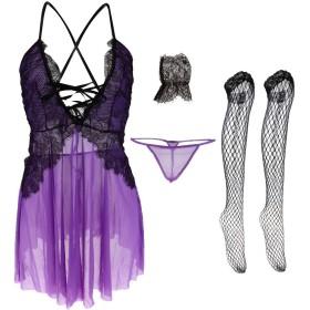 Baosity スリープセット ランジェリー パジャマ 手袋 Gストリング ミニドレス レディース 調整可能 全2色 - 紫