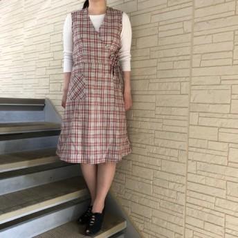 タータンチェックミディ丈ワンピース/Melva Dress/ノースリーブ カシュクール