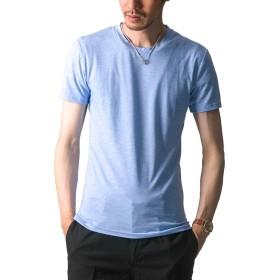FTELA(フテラ) メンズ シャツ カットソー Tシャツ ロンTクルーネック 丸首 Vネック 長袖 7分袖 半袖 無地 シンプル スリム ブルー(半袖/丸首/霜降り) XL