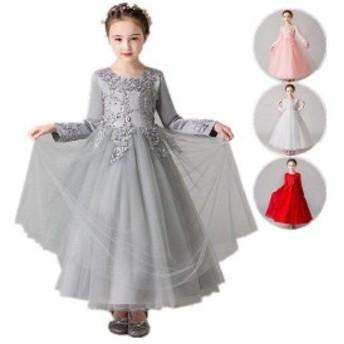 韓國子供服 フォーマル ワンピース 女の子 長袖 裏起毛 結婚式 発表會 入學式 姫様 ドレス 七五三 グレー ピンク ホワイト
