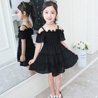韓國子供服 夏著 洋服 スリング シフォン ワンピース 新品 可愛いスタイル ストラップレス 結婚式 入園式 110 120 1