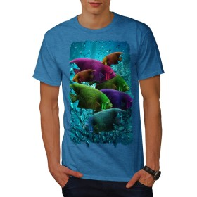 Wellcoda 深い 海 魚 野生 動物 男性用 ロイヤルブルー 2XL Tシャツ