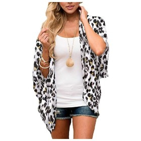 AngelSpace Women All Colors Plus-size Open Front Leopard Kimono Cardigan AS7 M