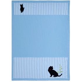 50%OFFしじら&タオルのリバーシブルケット(ネコ) - セシール ■カラー:ブルー ピンク ■サイズ:ハーフ(140×100cm)