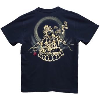如意輪観音 Tシャツ 白黒 半袖 和柄 仏画 日本画 手描き 墨絵 伯舟庵 (XL, 黒)