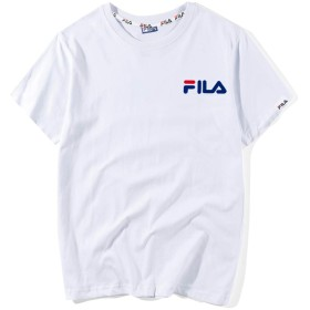 FILA(フィラ) トップス 半袖t-shirt コットン Tシャツ 通気性 クルーネック 快適 新品 (白1, L)