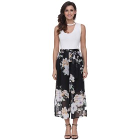 Women's Loose Flowy Wide-Leg Pants High Waisted Bohemian Cropped Trousers Casual Chiffon Culottes with Waist Belt (10)