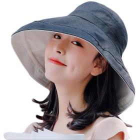 ZXCP ハット レディース UVカット 帽子 レディース 紫外線対策 ワイヤーを加える 熱中症予防 取り外すあご紐 サイズ調節可 つば広 おしゃれ 可愛い ハット 旅行用 日よけ 夏季 女優帽 小顔効果抜群 (海軍)