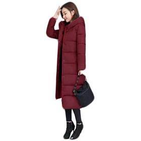 [ディーハウ]防寒 中綿コート レディース 冬服 ダウンコート 大きいサイズ ロング ダウンジャケット アウター ゆったり 無地 厚手 フード付き 中綿ジャケット ファッション きれいめ 軽量 着痩せ スリム 修身 シンプル ビジネス ワインレッド2XL
