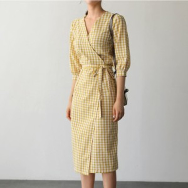 【新着】サマードレス チェック柄 カジュアル コットン 綿 スリム パーティードレス キャバドレス ワンピース 韓国
