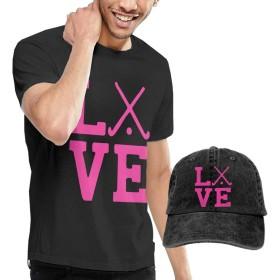 ラブフィールドホッケー-2成人ファッションのtシャツと野球のカウボーイ帽