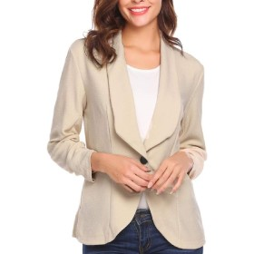 maweisong Women Business Slim Fit Casual Work Office Blazers One Button Jacket Khaki L