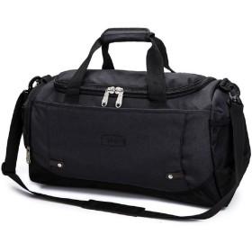 ナイロンバッグ 大容量 防水 男女兼用 ドラム ジム スポーツ 旅行 出張 簡潔設計 手提げバッグ ショルダーバッグ両用 (ブラック)