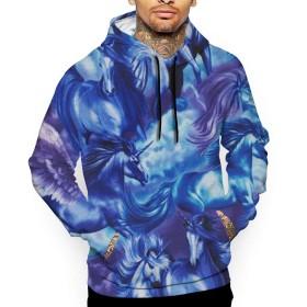 ユニコーン パーカー メンズ スウェット 秋冬 大きいサイズ 長袖 トップス プルパーカー カジュアル 3Dプリント ポケット付き