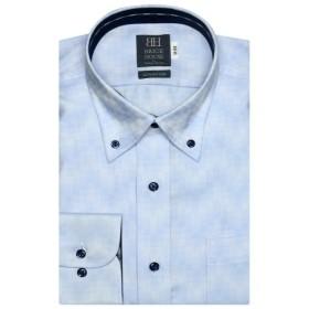 [マルイ] 形態安定 ノーアイロン 長袖ワイシャツ ボタンダウン サックス×織柄 標準体/ブリックハウス(BRICKHOUSE)