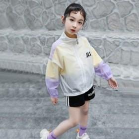 韓國子供服 ウィンドブレーカー 女の子 アウター 長袖 日焼け防止 ラッシュガード 夏服 ファッション パープル ブルー 110