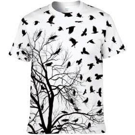 カラス柄 鳥柄 木柄 メンズ 半袖 Tシャツ カジュアル スポーツ 丸首 ティシャツ 男女兼用 個性的な 夏服