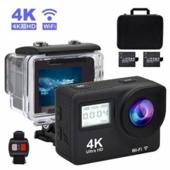 Accfly アクションカメラ 4K WiFi 搭載 16MP 1080P フルHD高画質 スポーツカメラ 170度広角レンズ ダブルスクリーン バイク 自転車 accfl