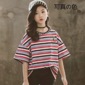 韓國子供服 半袖 ボーダー柄 Tシャツ 女の子 人気 夏 學生服 こども キッズ用 お灑落 個性 トップス 子ども服 レジャー