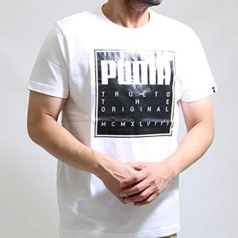 [プーマ] ラバープリントtシャツ メンズ 綿100% 半袖 tシャツ 594495 吸水速乾 XL 白×黒プリント