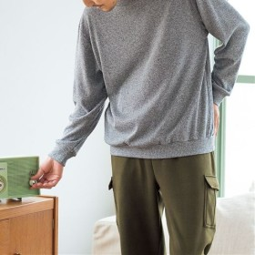 50%OFF【レディース】 ニット調あったか裏起毛シャギーTタイプパジャマ(男女兼用) - セシール ■カラー:グレー系 ■サイズ:S,LL,M,L,3L