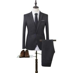 MISFUS スーツ メンス 長袖 着心地抜群 カジュアル スリム 四季 ファッション 大きいサイズ ビジネス・パーティー 結婚式 (ブラック,Xxl)