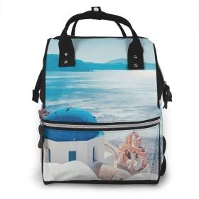 万洋 最新旅行 通勤 個性的 多機能レジャーバッグ リュック マザーズバッグ ベビー用品収納 出産準備 防水盗難防止ポケット シンプル大容量手提げ袋 かわいい -サントリーニ島エーゲ海