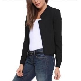 VITryst 女性の純粋な色のボタンのブレザーはカジュアルミニレジャースーツ・コート Black XS