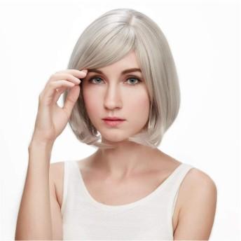 ウィッグ中年の短いストレートヘアボーウェーブヘッドショートヘア斜め前髪ケミカルファイバーウィッグセット-ダークブラウン