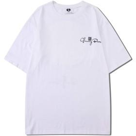Pizoff(ピゾフ) メンズ 半袖Tシャツ ホワイト 和風 ビッグシルエット鶴柄 おしゃれ ユニセックス HIPHOP カットソー 夏AC188-White-L
