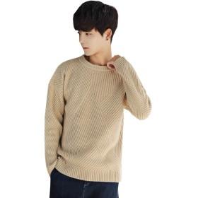 SMTMco セーター メンズ 純色 ゆったり トップス ニット プルオーバー クルーネック 長袖 風合い良い 静電気防止 厚手 防寒