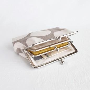 カードポケットつき親子がま口 11号帆布(お財布)大きめドット