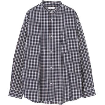【5,000円以上お買物で送料無料】mens ドロップ バンドカラーブロードチェックシャツ