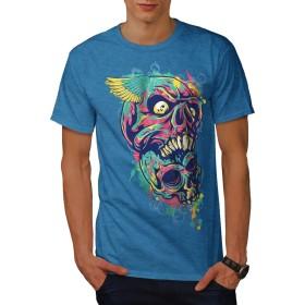Wellcoda カラフル アート 死 頭蓋骨 男性用 ロイヤルブルー 5XL Tシャツ