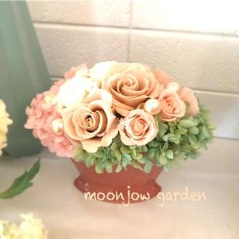 ️sale ️プリザーブドフラワー☆ピンクブラウン&爽やかグリーン×ピンクの陶器のアレンジメント